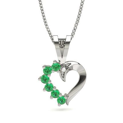 Smaragd Herz Anhänger in einer Krappenfassung