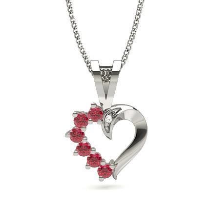 Prong Setting Ruby Heart Pendant