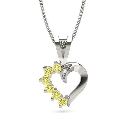 Yellow Diamond Heart  Pendant