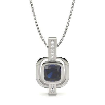 Full Bezel Setting Blue Sapphire Solitaire Pendant