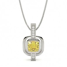 Silver Yellow Diamond Pendants Necklaces
