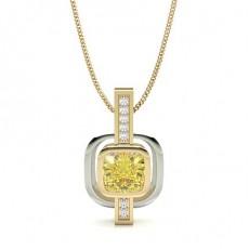Coussin Or Jaune Pendentifs Diamant Jaune