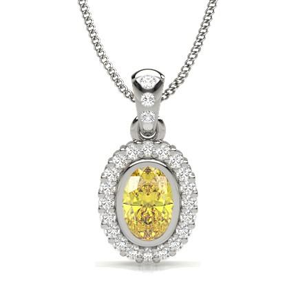 Bezel Set Yellow Diamond Halo Pendant