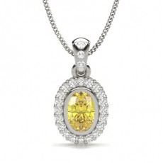 Bezel Set Yellow Diamond Halo Pendant