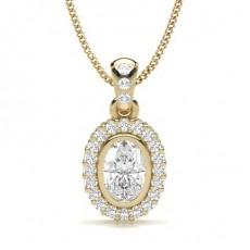 Oval Gelbgold Halo Anhänger Halsketten