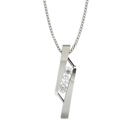 Runder Diamant Desinger Anhänger in einer Balkenfassung