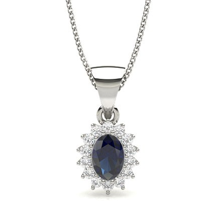 Prong Setting Blue Sapphire Solitaire Pendant