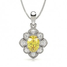 Prong Set Yellow Diamond Millgrain Halo Pendant