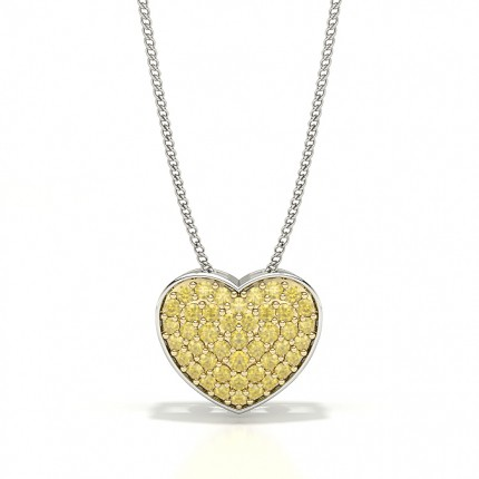 Yellow Diamond pave Heart Pendant