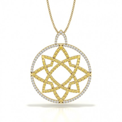 Yellow Diamond Circle Designer Pendant
