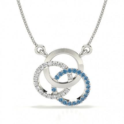Blue Sapphire Prong Setting Circle Pendant