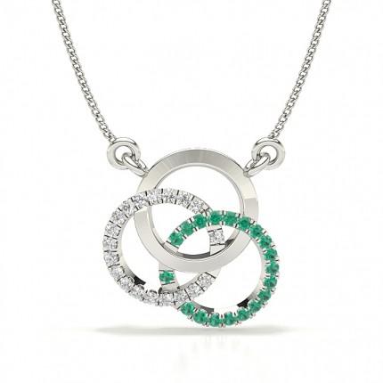 Emerald Prong Setting Circle Pendant