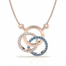 Rose Gold Circle Diamond Pendants Necklaces