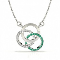 White Gold Circle Diamond Pendants