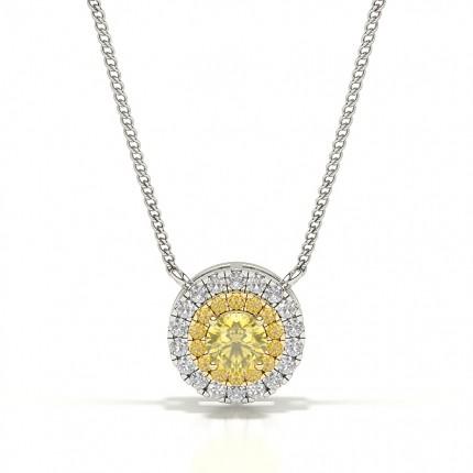 4 Prong  Yellow Diamond Halo Pendant