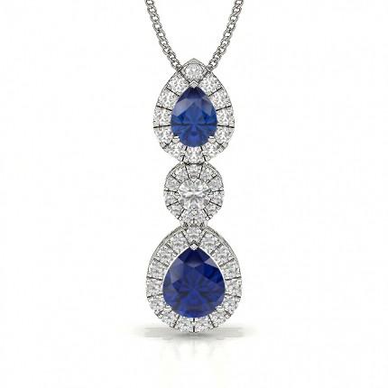 Birnenform Blue Sapphire Journey Anhänger