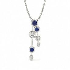 Full Bezel Setting Blue Sapphire Journey Pendant