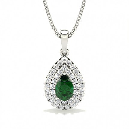 Prong Setting Pear Emerald Halo Pendent