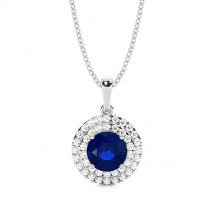 Prong Setting Round Blue Sapphire Halo Pendent