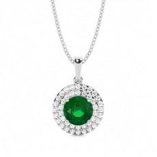 Round Emerald Diamond Pendants