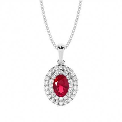 Prong Setting Oval Ruby Halo Pendent