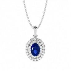 Pendentif halo saphir bleu ovale serti griffes
