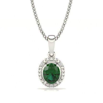 4 Prong Setting Oval Halo Emerald Pendant