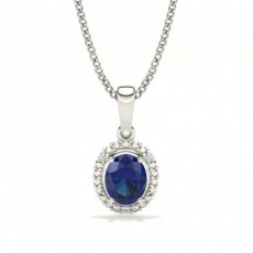 4 Prong Setting Oval Halo Blue Sapphire Pendant
