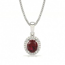 4 Prong Setting Oval Halo Ruby Pendant
