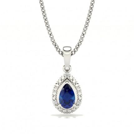3 Prong Setting Pear Halo Blue Sapphire Pendant