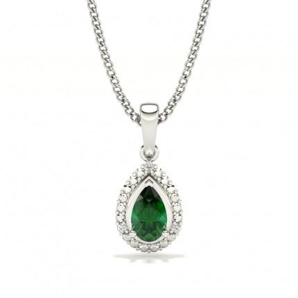 3 Prong Setting Pear Halo Emerald Pendant