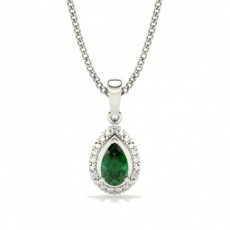 3 Prong Setting Pear Halo Emerald Pendant