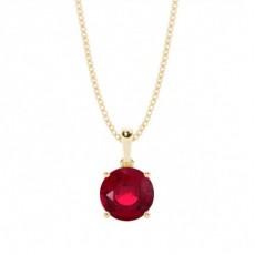 Yellow Gold Ruby Diamond Pendants