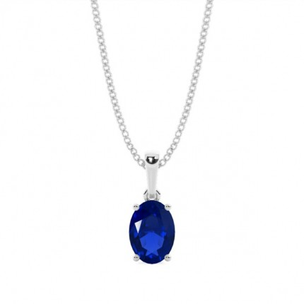 4 Prong Setting Oval Blue Sapphire Pendent