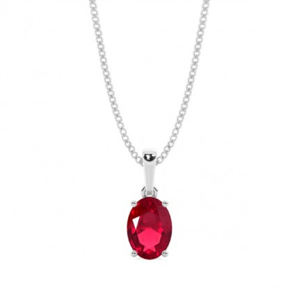 4 Prong Setting Oval Ruby Pendent