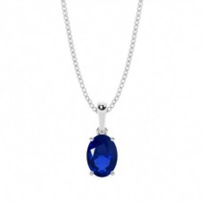 Pendentif saphir bleu ovale serti 4 griffes