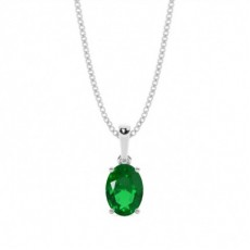 Oval Emerald Diamond Pendants