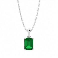 Weißgold Smaragd Diamant Anhänger