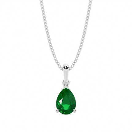 Prong Setting Pear Emerald Pendent