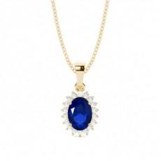 Yellow Gold Sapphire Diamond Pendants