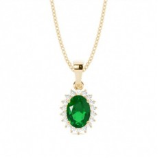 Yellow Gold Emerald Diamond Pendants