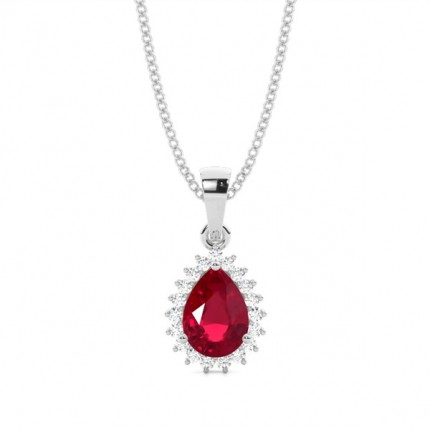Prong Setting Pear Ruby Pendent