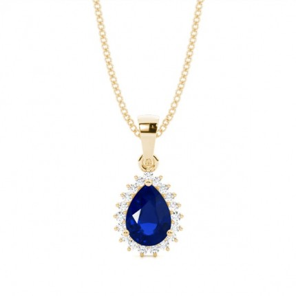 Prong Setting Pear Blue Sapphire Pendent