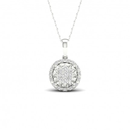 Illusion Prong Setting Round Halo Pendant