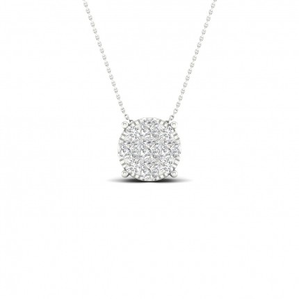 Micro Pave Setting Princess Diamond Cluster Pendant