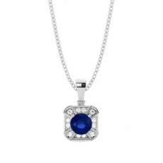 Pendentif halo saphir bleu rond serti griffes