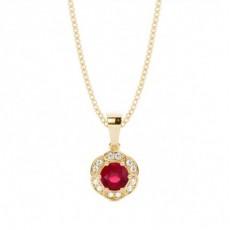 Pendentif halo rubis serti griffes