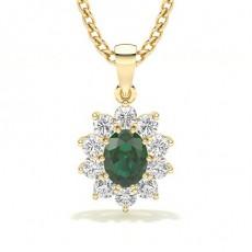 Yellow Gold Emerald Diamond Pendants