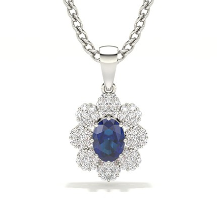 Invisible Prong Setting Halo Blue Sapphire Pendant