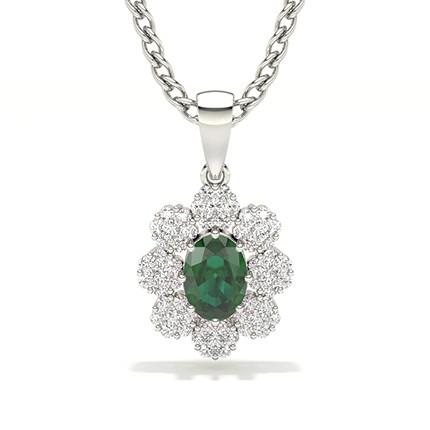 Unsichtbare Zinkeneinstellung Halo Emerald Pendant